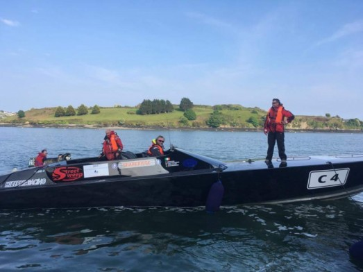 Team Hibernia sailing the Round Ireland Powerboat Record